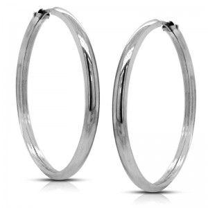 PENDIENTES DE PLATA ARO MEDIA CAÑA-03MM GROSOR-23MM DIAMETRO-