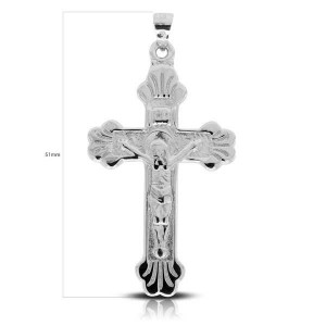 COLGANTE CRUZ PLATA RODIO BRILLO CRISTO-51MM