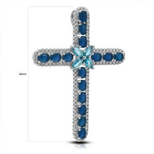 CRUZ PLATA RODIO CIRCONITA Y PIEDRA COLOR ZAFIRO-48MM