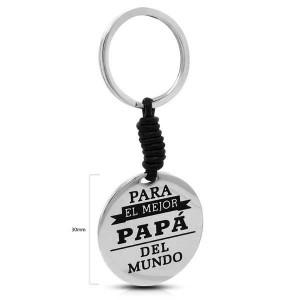 LLAVERO DE ACERO Y CUERO PAPA-30MM
