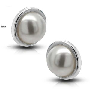 PENDIENTES PLATA PRESION BASE MEDIA PERLA 14MM
