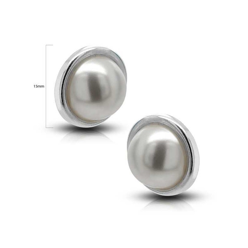 8c7312251f89 BASE MEDIA PERLA 15MM PENDIENTES DE PLATA PRESION BASE MEDIA PERLA ...