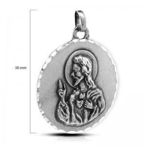 MEDALLA PLATA CORAZON DE JESUS-38MM