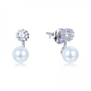 PENDIENTES PLATA PRESION CIRCONITAS PERLA