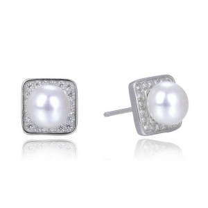 PENDIENTES PLATA PRESION PERLA