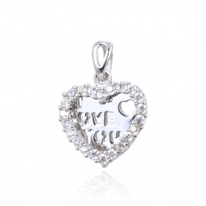 COLGANTE PLATA CIRCONITAS CORAZON  I LOVE YOU 21MM